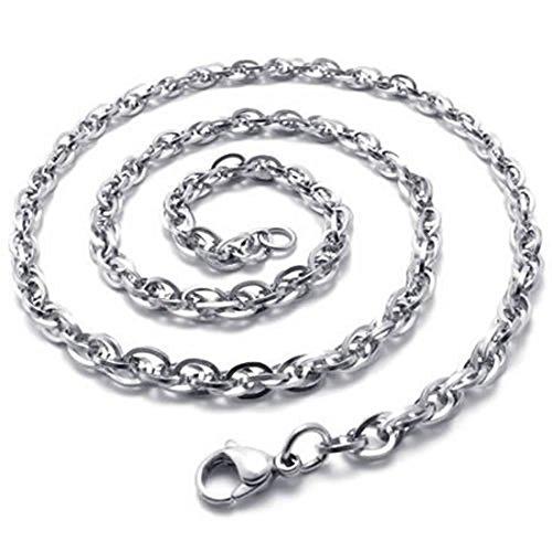 SODIAL(R) Collar Collar de joyeria, Collar Cadena coraza del Acero Inoxidable, Plata - 2 mm de Ancho - 55 cm de Longitud
