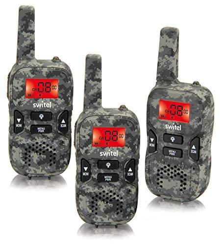 Switel WTE2353 Walkie Talkie, Funkgeräte 3er-Set im Camouflage Design mit beleuchtetem Display und Taschenlampe