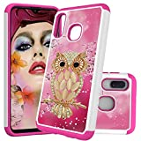 HMTECHUS Case for Galaxy A10E Printing Dual Layer Cloth PC Back TPU Border Shell Non-Slip Anti-Fall Shock Resistant Protection Slim Cover for Samsung Galaxy A20E Cloth 2 in 1 Pink Diamonds Owl YB