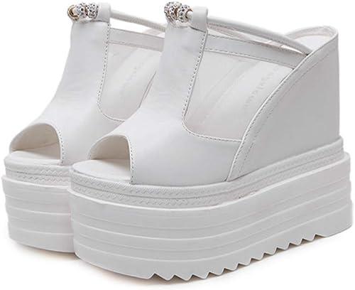 YAN Femmes Talons Hauts Hauts Pantoufles PU Maille Peep Toe Pantoufles & Tongs Sexy compensées Chaussures Sandales Plate-Forme Chaussures Blanc Noir,blanc,36  meilleure vente