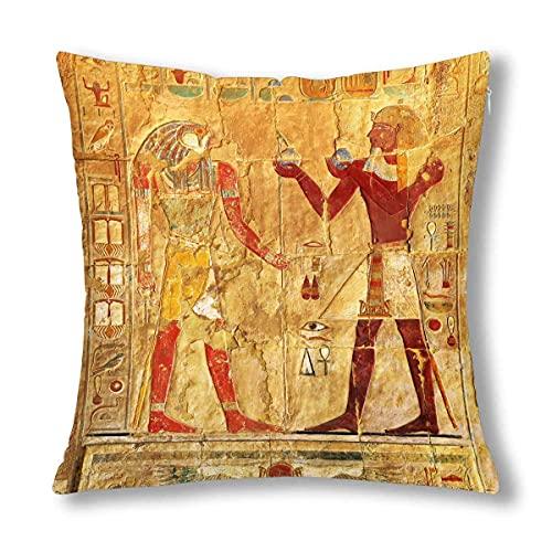 HZLM - Federa decorativa per cuscino, motivo: immagini a colori sul muro in stile antico Egitto, 45 x 45 cm