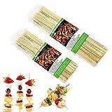 EQLEF 100PCS de 15 cm Brochetas de bambú y 100PCS de 25 cm BBQ Palitos de Kebab de Frutas para Fiesta, Banquete, bufé, Vida Cotidiana a la Parrilla de la Barbacoa, canapé, malvavisco, Postre, cóctel