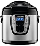 Chefman 6 Qt. Electric Multicooker, 9-in-1 Programmable Pressure-Cooker, Prepare Dishes in an Instant, Nonstick Pot, Multifunctional Slow Cooker, Rice Cooker/Steamer, Sauté, Soup Maker