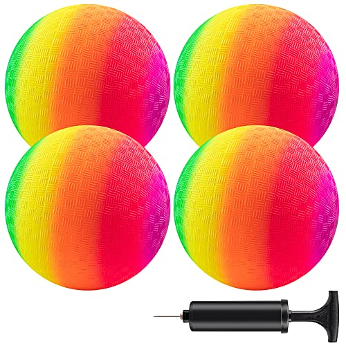 Playground Balls with Ball Pump, 8.5 Inch (Pack of 4) Rainbow Kickball Dodgeball for Kids and Adults, Indoor and Outdoor Games, Dodge Ball, Handball, Schoolyard Games, Four Square