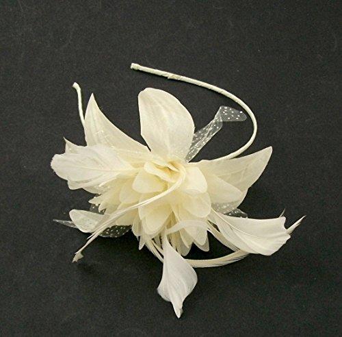 Justjackiesbargains Haarschmuck Fascinator mit Blume aus Seide und Feder auf Haarreif, elfenbeinfarben/cremefarben