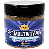 Pet Multivitamin Powder for Dogs and Cats | Minerals Vitamins Antioxidants and Enzymes for Skin Joint Hip Immune Heart and Brain - Garlic or Garlic Free