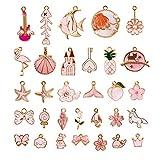 KINBOM 31 Piezas Colgantes De Esmalte Rosa Surtidos Bonitos Dijes Temáticos De Color Rosa y Oro, Para Hacer Joyas, Pendientes, Llaveros, Collares, Pulseras Para Producir Suministros