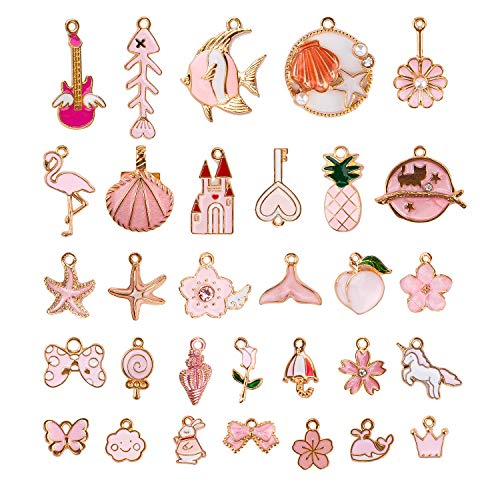 KINBOM 31pcs Assorted Pink Enamel Pendants Cute Pink&Gold Theme Charms for Jewelry Making, Earring, Keychain, Necklace, Bracelet Producing Supplies