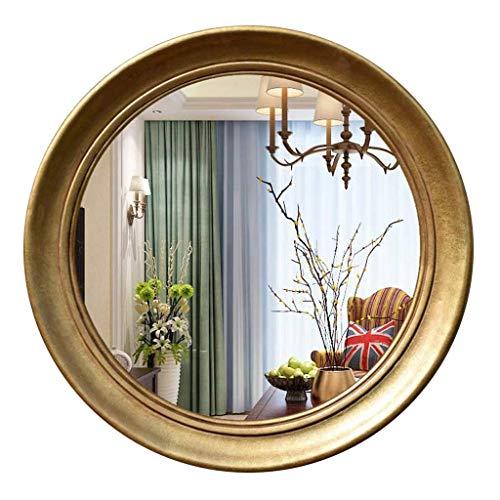 DERUKK-TY Espejo de tocador redondo para el hogar y maquillaje, espejo de pared grande, espejo de pared HD, espejo decorativo para salón, dormitorio, pasillo (color dorado, tamaño: 75 cm)