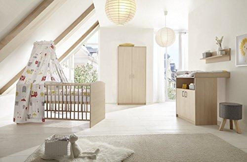 Schardt 11 522 04 00 Chambre d'enfant 3 pièces comprenant, Combi Lit Bébé Avec Draps, commode et armoire 2 portes, 70 x 140 cm, hêtre classiques