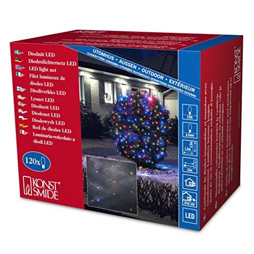Konstsmide 3751-500 Filet Lumineux 120 LED Multicolores + Câble Noir 24 V