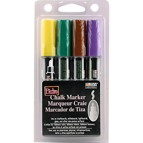 Uchida 480-4D Marvy Broad Point Tip Bright Bistro Chalk Marker Set, Assorted