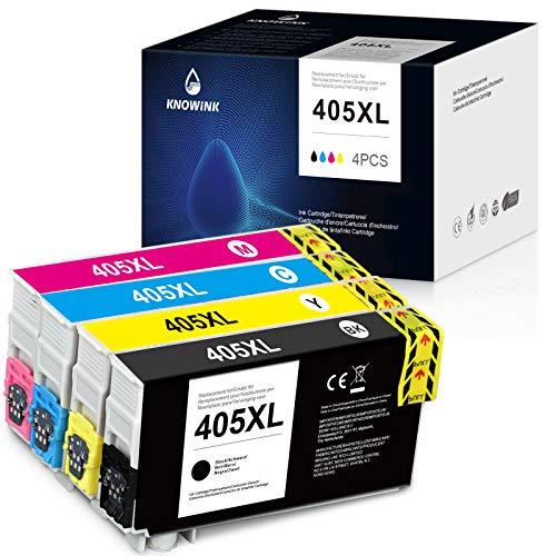 KNOWINK Kompatibel Epson 405 HP 405XL Druckerpatronen für Epson Workforce Pro WF-7840DTWF 3820DWF 4825DWF 4830DTWF 4820DWF 3825DWF(1x Schwarz,1x Cyan,1x Magenta,1x Yellow)
