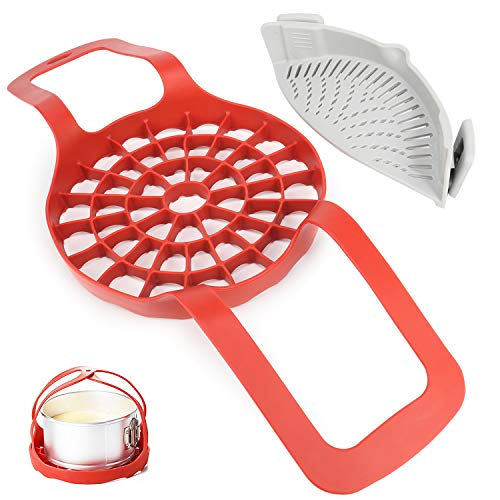 Presure Cooker Sling,Red Silicone Bakeware Lifter Accessories Sling, Set Includes Silicone Strainer(Gray)Clip-On Kitchen Food Strainer for Spaghetti, Colander & Sieve Snaps on Bowls,by Arssilee