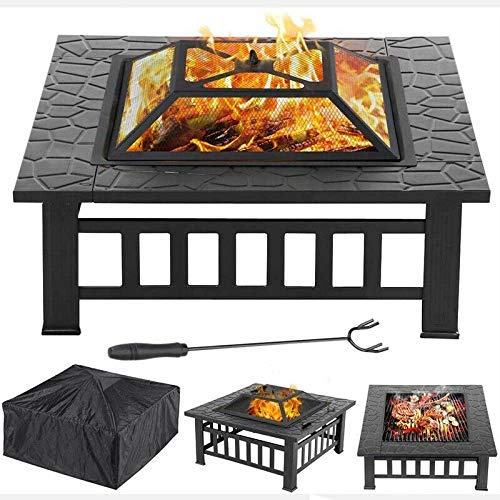 Saving Plus Outdoor Fire Pit BBQ Firepit Brazier Garden Square Table Stove Patio Heater With Waterproof Cover For Backyard