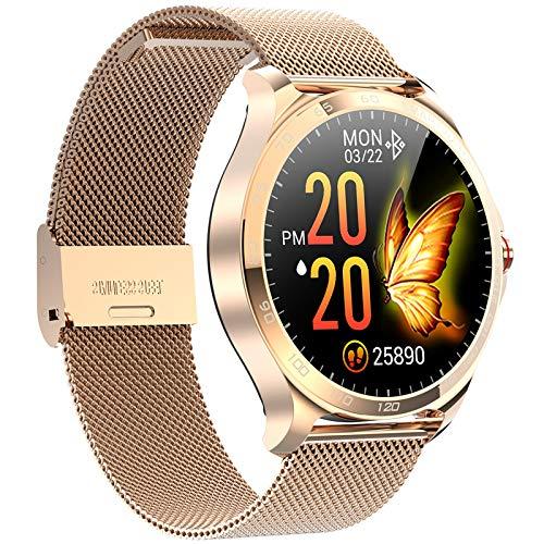 QFSLR Smartwatch, Reloj Inteligente Impermeable con Monitor De Frecuencia Cardíaca, Monitor De Presión Arterial Ciclo Menstrual Rastreador De Salud Hombres Y Mujeres para Android iOS,Oro