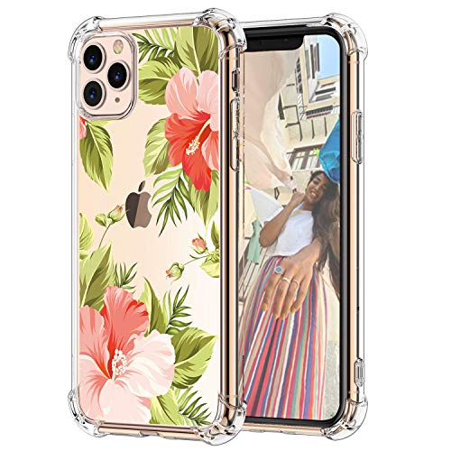 Hepix Floral Clear iPhone 11 Pro Case Flowers Tropical Leaves 11 Pro Cases, Slim Crystal Flexible Soft TPU with Protective Bumpers Anti-Scratch Shock Absorption for iPhone 11 Pro 5.8', Gift Choice