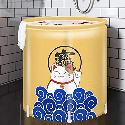 BGROEST Bañera de Fácil Almacenamiento Bañera Plegable Patrón Adulto de la Unidad Bañera Plegable de plástico Bañera de hidromasaje Barril Libre Adulto bañera Inflable Amarillo del Gato