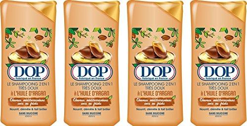 DOP Shampoo, sehr weich, 2 in 1, mit Arganöl, meditierend, trocken, Frisés 400 ml, 4 Stück