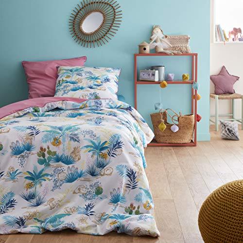 Catimini Parure de lit Enfant Fille Nomade 140 X 200 cm, Bleu, Rose, Vert, 140 X 200 + 65 X 65 cm