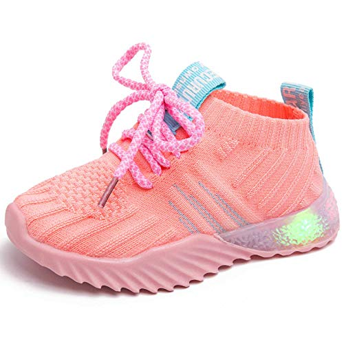 Mictchz Baby Boys Girls LED Light Shoes Sneakers Soft Mesh Knit Light Up Shoes Lightweight Breathable Kids Running Shoes First Walkers Sports Sneakers for Toddler/Little Kid