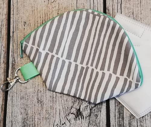 Maskentasche | Hülle | Etui | Aufbewahrung | Mundschutz (Streifen grau/mint)