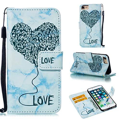 Zachte beschermhoes voor iPhone 8/7, zeer licht, smal, elegant, met marmer en hart en ballon, PU-lederen hoes voor iPhone 7/8 en iPhone 6SPlus, blauw