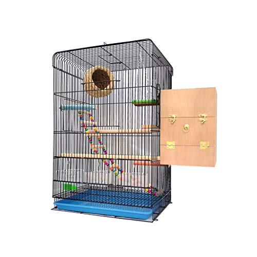 Birdhouses/Nest Cage House Large Bird Cage for Budgie Finch Lovebird Portable Big Sized Birds Travel Cage Pet Home 60CM with Ladder Hanging Toys Nest Box Birdhouse (Color : B)