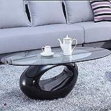 Sproutor Hochglanz Beistelltisch mit runder Glasplatte,Kaffeetisch,Moderne Wohnzimmer Sofa-Beistelltische Couchtisch (Schwarz)
