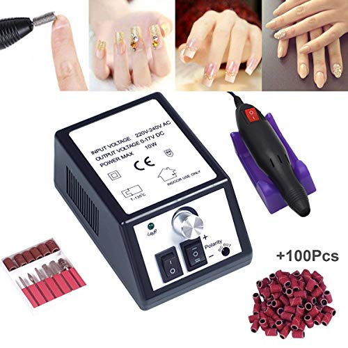 Electric Nail Drill,Professional Nail Drill for Acrylic Nails,Nail File Manicure Pedicure Kit for Gel Nail,Nail Art Polisher with 100pcs Sanding Bands,Low Heat Low Noise Low Vibration