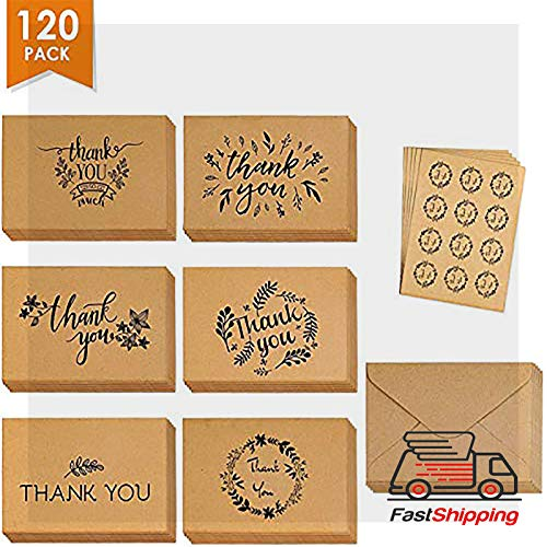 Wedding Thank You Cards - Thank You Cards Set of 120 - Includes Thank You Notes,Brown Kraft Blank Cards with Envelopes & Stickers - Perfect for Graduation, Business, Wedding, BabyShower, 4�6 Inch