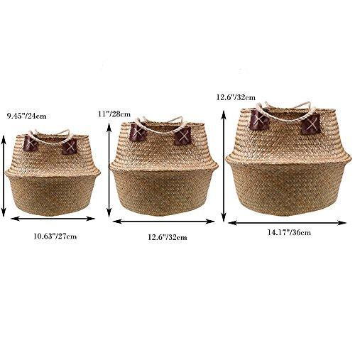 Natürliches Seegras gewebtes Bauchkorb, Goodchanceuk 3/Set Blumentopf Korb mit Griff Garten Wäschekorb Container Home - 7