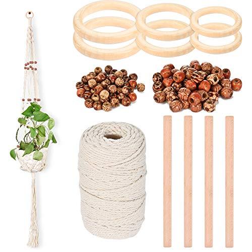 Demine Seil aus Makramee, natürliche Kordel aus Baumwolle, weich, Bohème mit 6 Holzringen 100 Perlen zum Aufhängen an der Wand, Kleiderbügel für Pflanzen zum Hängen von Pflanzen DIY Dekoration