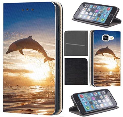 Samsung Galaxy J5 2016 J510/Duos Hülle von CoverHeld Premium Flipcover Schutzhülle Flip Case Motiv (1239 Delfin Brau Grau)