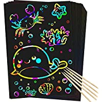 50-Pieces Rmjoy Scratch Rainbow Art Paper Set