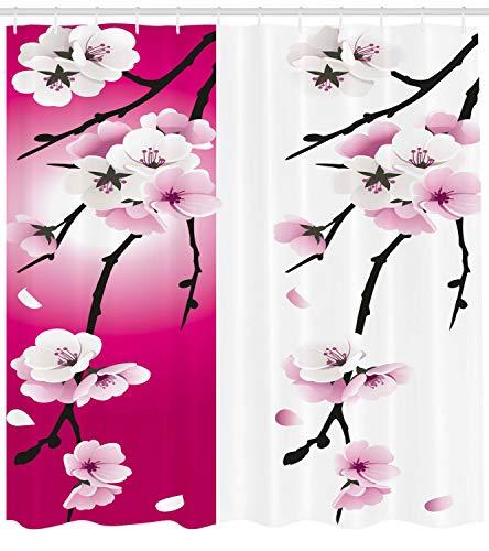 123456789 Duschvorhang mit Blumenmuster, apricot Blumen für Badezimmer