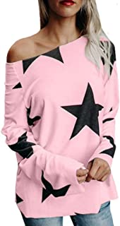 WSJTT Women's Solid Loose Short Sleeve T-Shirt Top Side Split High Low Hem Women Girl Off Shoulder Star Print Long Sleeve ...