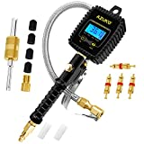 AZUNO Digital Tire Inflator with Pressure Gauge Professional 255 PSI & 0.1 Display Resolution Heavy Duty Air Chuck Compressor Accessories with Stainless Braided Hose & Quick Connect Coupler