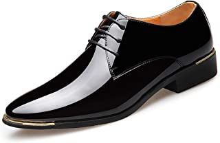 Oxford Newly Men's Pointed Dress Shoes Brown Lace-up Dress Shoes EU Size 38-45 Black Soft Man Oxford Shoes Comfortable Soft Lining Derby Saddle Shoes (Color : Black, Size : 44)