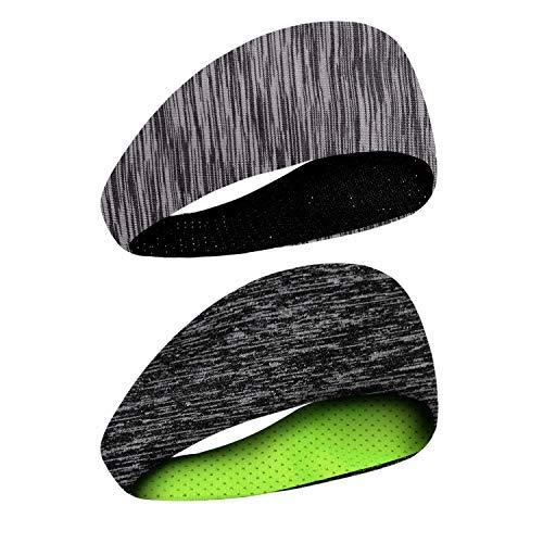 Headbands for Men Women - 2 Pack Sweatband Set & Hair Bands for Running, Crossfit, Workout, Yoga, Cooling Headwear Bike Helmet Friendly