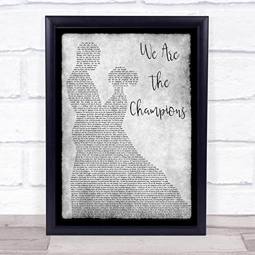Fingerprint Designs Songtext We Are The Champions Man Lady Tanzend, Grau Framed White Small