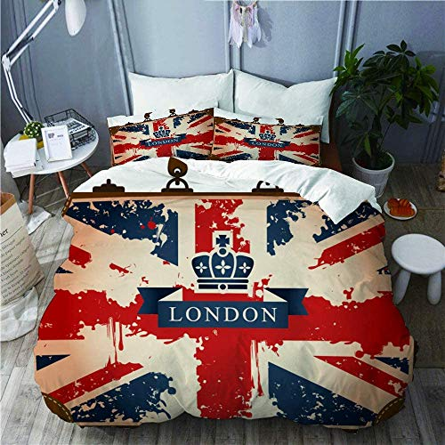 882 Bedding Set-Duvet Cover Set,Vintage Travel Suitcase with British Flag London Ribbon and Crown Image,Microfibre 135x200 with 2 Pillowcase 50x80,Single
