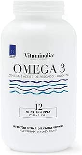 Omega 3 Aceite de Pescado   1000mg en cada Perla - Suplementación para 1 Año   Ácidos Grasos Esenciales   Calidad de Vitaminalia