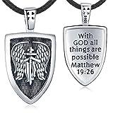 Aniu St Michael Shield Necklace for Men Women, Sterling Silver Archangel Protect Angel Guardian Saint Michael Amulet Shield Protection Pendant Unique Jewelry Gift