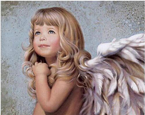 PAINTWERT Baby-Engels-Malerei-Färbung durch Zahl-Bild-Wand-Kunst-modernes Ölgemälde, das durch Zahlen weißes Engelsbild für Kind zeichnet 60x80cm