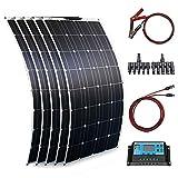 500W Kit Solar Flexible 5 Piezas 100W Módulo Solar Fotovoltaico Controlador 40A+Cable de 3m+Cable de clips baterías 1m Cargador Solar para Autocaravana, Techo,Barco(500 Vatios)