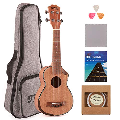 JDR Soprano Ukulele Mahogany 21 Inch Small Hawaiian Guitar with Carbon Strings Protective Bag and Beginner's Manual for Children Adults