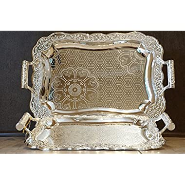 Home N Kitchenware Collection (2 Piece Set) Silver Plated Decorative Food/Coffee Serving Tray; Rectangular Shape Charger Plate; Mediterranean Design