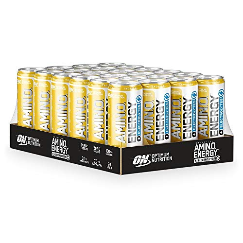 Optimum Nutrition ON Essential Amino Energy + Electrolytes, Sugar Free EAA Energy Drink with Electrolytes and Caffeine, Tropical, 24 Pack, 250 ml