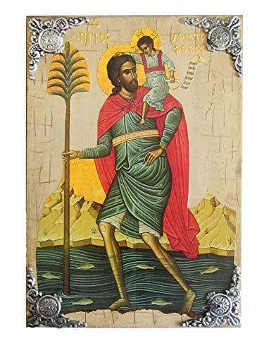 Icône en Bois Grec chrétien orthodoxe de Saint Christophe / P16